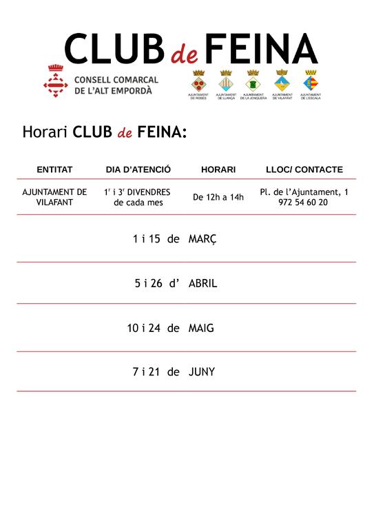 Club de Feina Vilafanat març-juny 2019