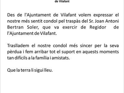 Nota de condol pel traspàs del Sr. Joan Antoni Beltran Soler