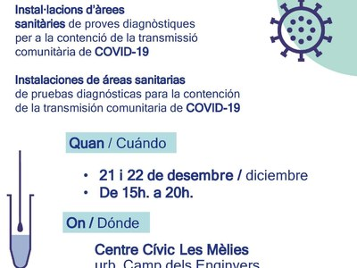 Cribatge de la covid19 per a tota la població dilluns 21 i dimarts 22 de desembre 2020 (15h a 20h)