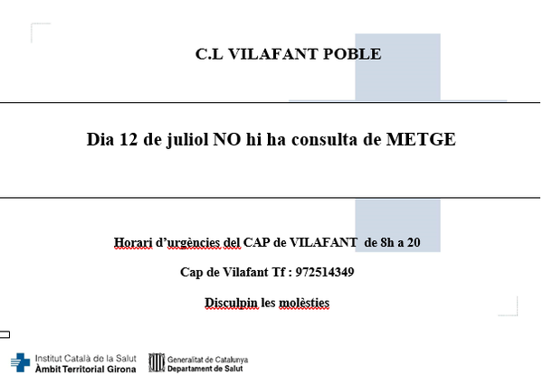 El 12 de juliol la Consulta Mèdica romandrà tancada