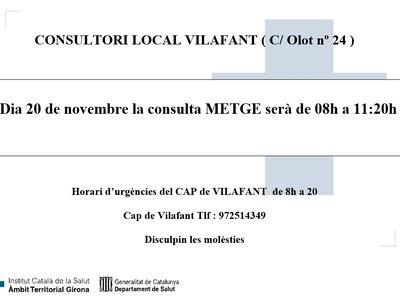El 20 de novembre la consulta del metge del Consultori Local  (C/ Olot, 24) serà de 08:00 a 11:20