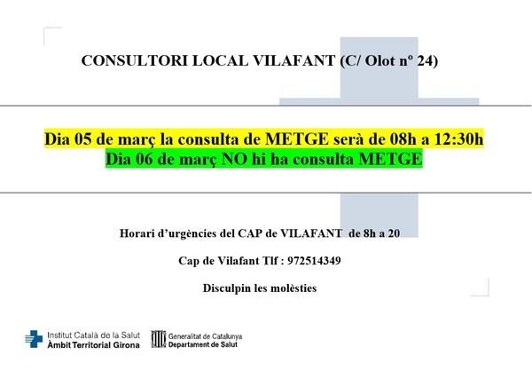 El 5 de març de 2020, l'horari del consultori local serà de 08:00 a 12:30