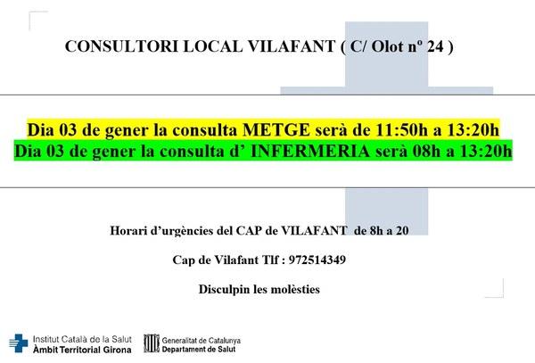 El divendres 3 de gener de 2020, l'horari del consultori local es veurà afectat