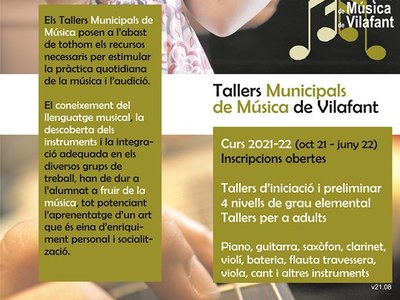 S'obren inscripcions als Tallers Municipals de Música de Vilafant curs 2021/22
